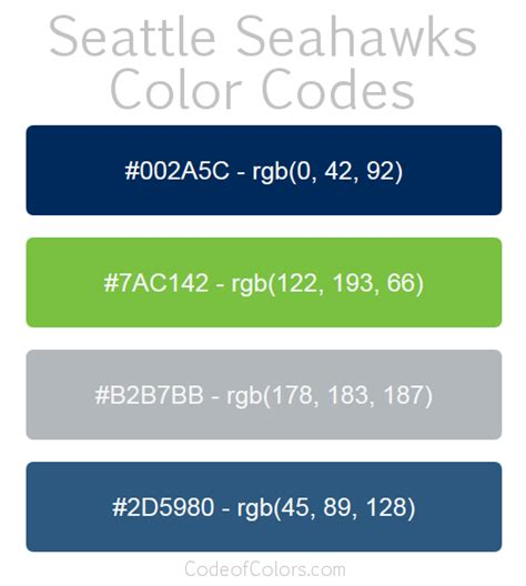 seattle seahawks colors hex  rgb color codes