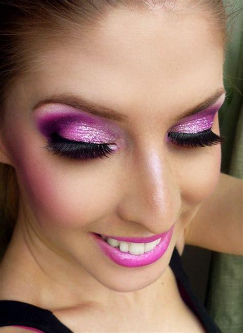 pink smokey eye makeup  sparkling eyes full face