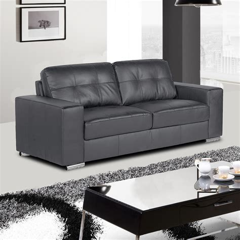 Grey Sofa by Slate Grey Leather Sofa Collection With Tufted Seats
