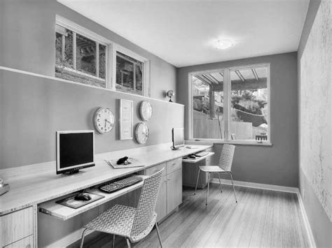 white  wood office space black decor white home