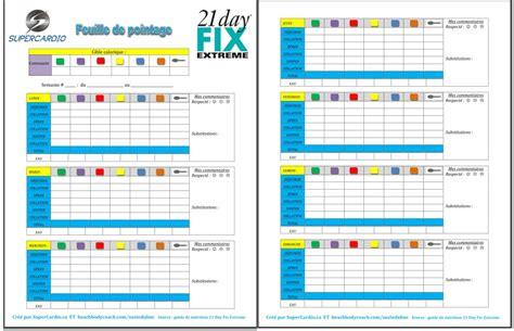 cours de cuisine hebdomadaire liste des aliments 21 day fix et feuille de pointage
