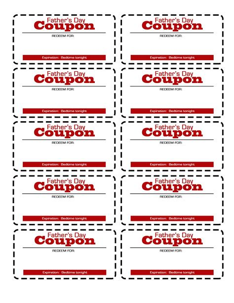 Coupon Templates Printable Free by S Day Coupon Printable Flourish Free Resources