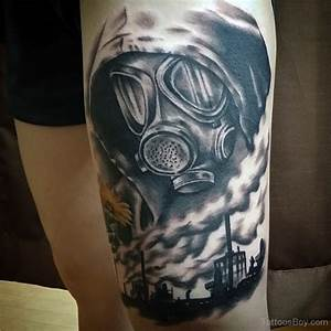 Gas Mask Tattoo On Thigh | Tattoo Designs, Tattoo Pictures