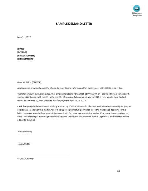 letter  demand sample templates