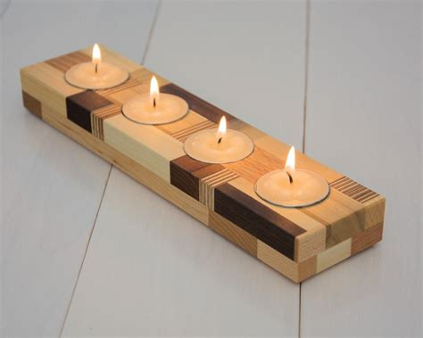 wooden candle holders wood candle holder tea light candle holder home by ecokazen