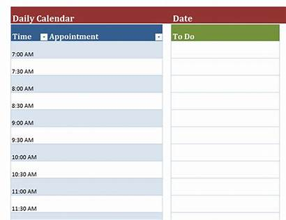 Calendar Daily Blank Templates Template Schedule Office