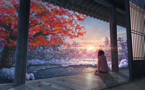 Japanese Anime Desktop Wallpaper - fall snow japanese maple forest lake wallpapers hd
