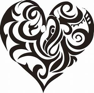 New Black Tribal Heart Tattoo Design