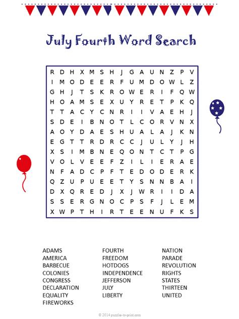 fourth  july word search