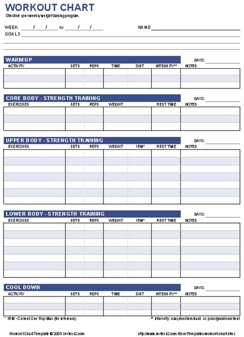 workout chart printable weight lifting chart template