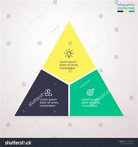 Triangle Diagram Chart Graph 3 Steps Stock Vector