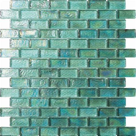 glass mosaic 3 4 x 1 3 4 glass tile brick mosaic gc004 1 rippled glass aqua iridescent