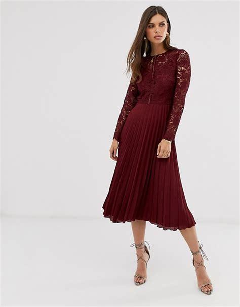 Asos Design Long Sleeve Lace Bodice Midi Dress With
