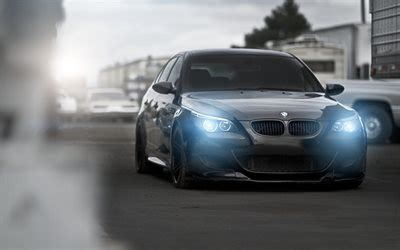 Download Wallpapers E60, Bmw M5, Tuning, Headlights, Road