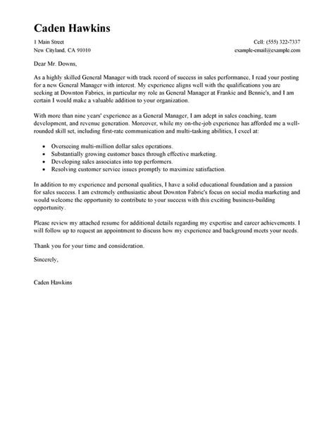 Cover Letter For General Manager Resume by Best Sales General Manager Cover Letter Exles Livecareer