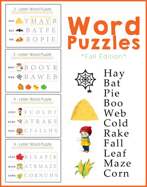 preschool worksheets word puzzles fall edition 187 one 878 | Word Puzzles
