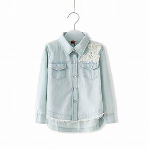Lace Denim Shirts For Baby Girls Shirt Jean Children Kids Tops Clothes Girlu0026#39;s Blouse 2014 Autumn ...