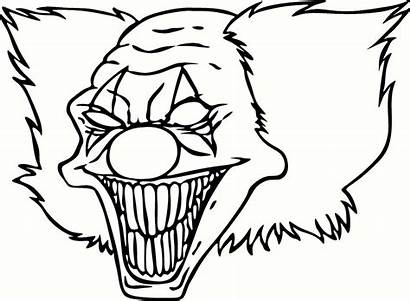 Clown Drawing Scary Coloring Clowns Halloween Pages