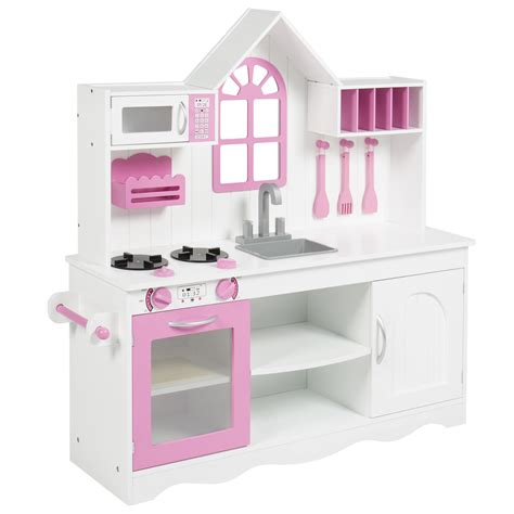 bcp kids wood kitchen toy toddler pretend play set solid