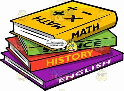 Books Cartoon Different Supplies Clipart Math English