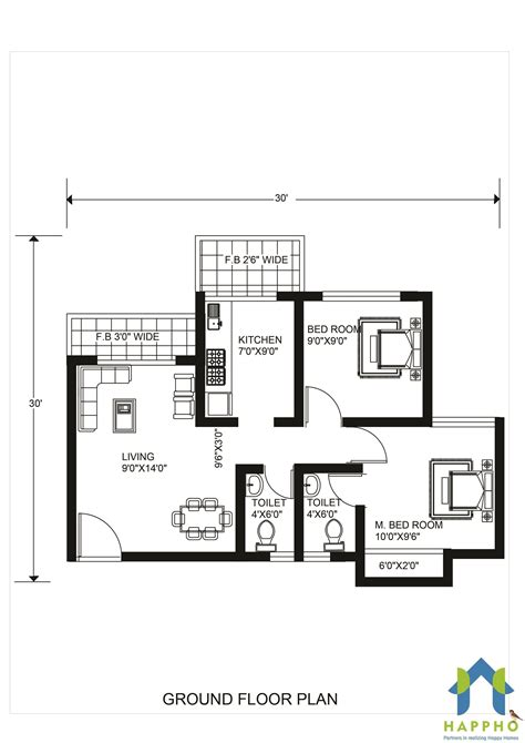 floor plan     feet plot  bhk  square feet