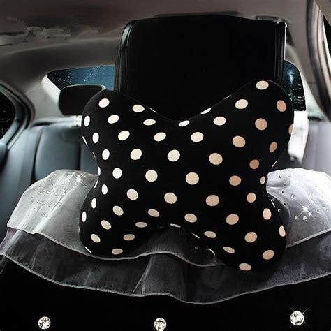 polka dots bone shaped car headrest pillow  flower