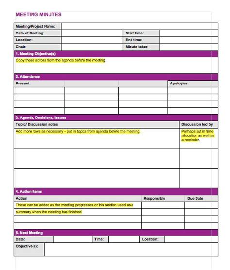 meeting minutes template 20 handy meeting minutes meeting notes templates