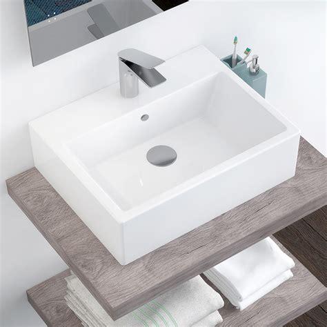 Bagno Lavabo Lavabo In Ceramica Rettangolare 53 X 40 Cm Con Troppopieno