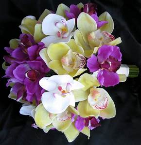 Natural Touch Bouquet Purple Yellow White Orchids ...