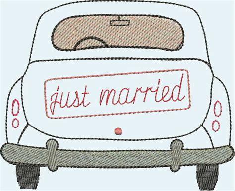 """Stickapplikationen  Stickdatei """"just Married"""" Auto Ein"""
