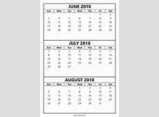 3 Month Calendar June July August 2018 postrendycom