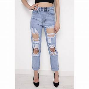 High Waisted Torn Jeans | Bbg Clothing