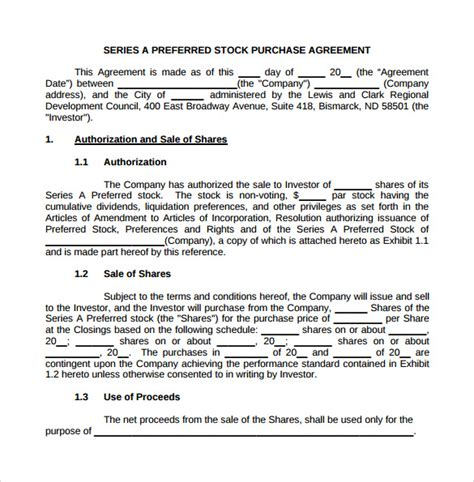 stock purchase agreement template 7 sle stock purchase agreement templates to sle templates