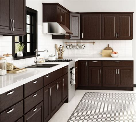espresso and white kitchen cabinets base cabinets in java kitchen the home depot 8875