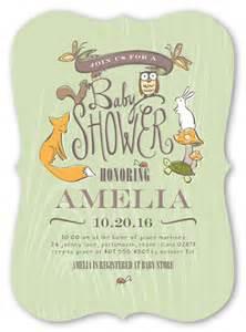 Baby Shower Invitation: Woodland Party Boy, Bracket Corners, Green, 5x7 Flat Card