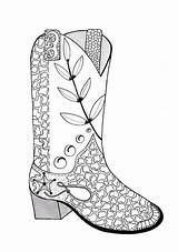 Coloring Cowboy Adult Boot Cowgirl Pages Boots Drawing Sheet Line Colouring Printable Cowgirls Cowboys Print Drawings Favecrafts Adults Books Getdrawings sketch template