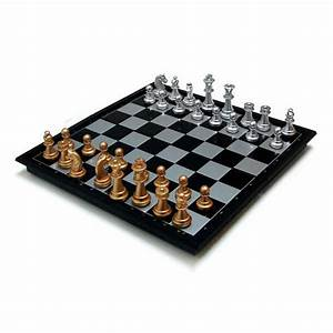 Chess Board Set Magnetic Chessmen Gold Silver Portable