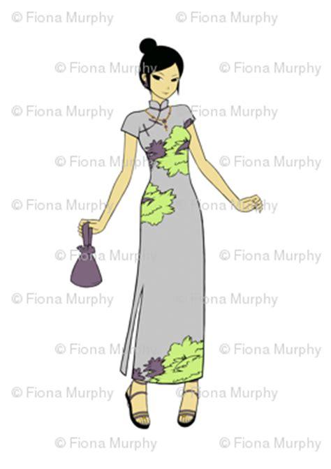 Manga Style Japanese Girl Clip Art Lilac Fabric Sew