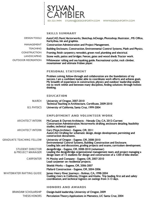 Architectural Intern Resume Exles by Intern Architect Resume Quotes