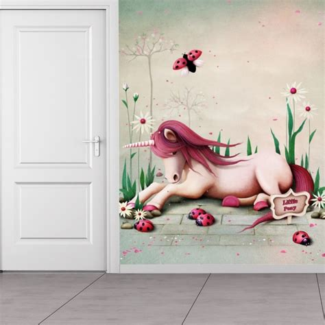 pink unicorn wall mural wallpaper