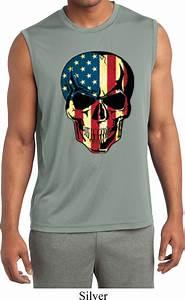 Usa Skull Mens Sleeveless Moisture Wicking Shirt Usa