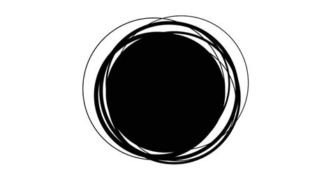 Abstract Black Circle by Thin Circles Converging In Black Space Stock Footage