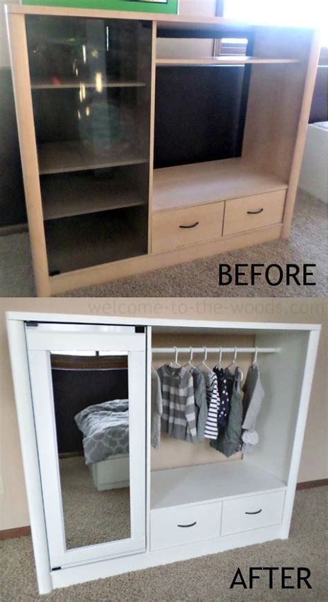 diy entertainment center turned into kids closet armoire furniture makeover easy diy furniture