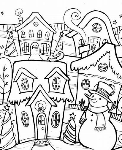 Coloring Christmas Pages Adults Winter Town