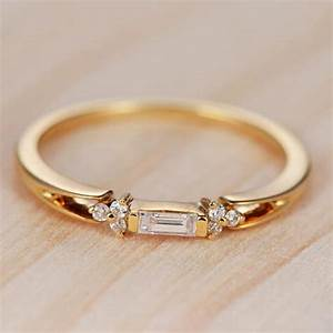 baguette diamond engagement ring gold wedding band With ring gold wedding