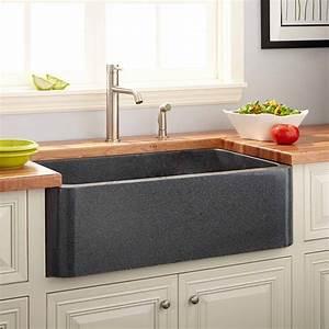 "36"" Polished Granite Farmhouse Sink - Blue Gray - Kitchen"