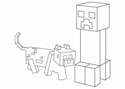 Minecraft Pages Coloring Sword Creeper Printable Dog