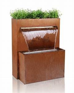 bepflanzbarer wasserfall brunnen cortenstahl led With markise balkon mit led wand tapete