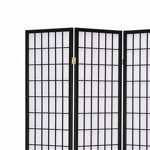 Solid Timber Wooden 6 Panel Fold Screen Room Divider Black