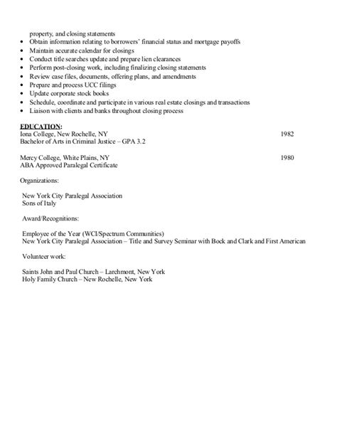 Real Estate Closing Paralegal Resume by Maryanne Picco Paralegal Resume Real Estate Corporate